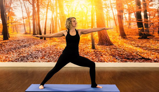 Image of woman lunging in warrior yoga pose